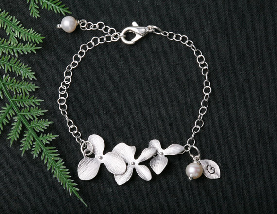 Orchid Flowers Bracelet,Leaf initial,initial birthstone bracelet,Wedding jewelry, Bridesmaid Gifts,flower jewelry