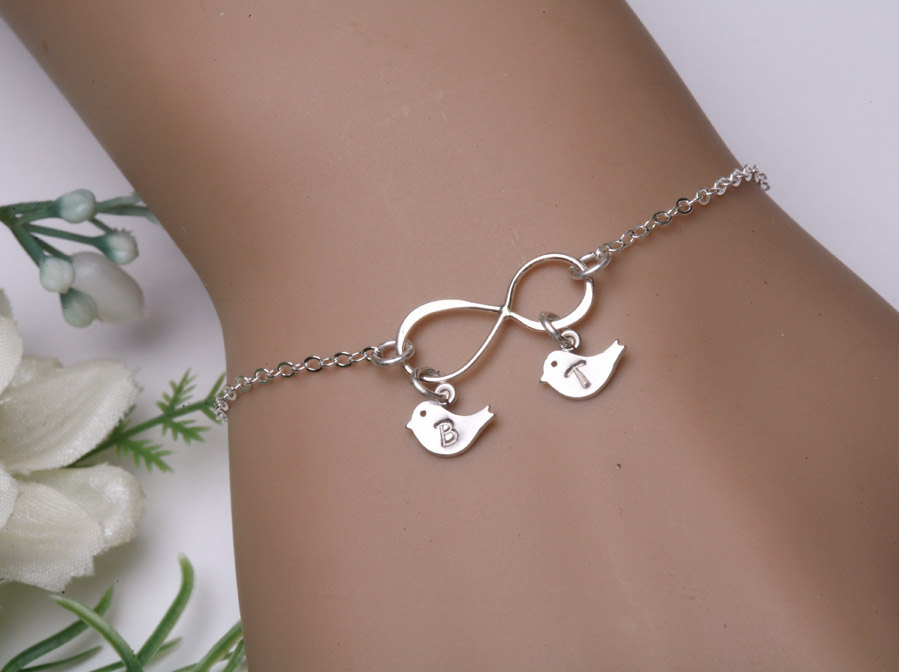 Infinity Bird Bracelet Two Initials Letter Personalized Jewelry Monogram