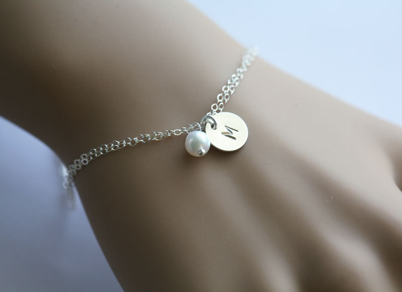 Initial Bracelet Hand Stamped Letter Charm Bridesmaid Gift Simple Daily Jewelry Birthday Adjule