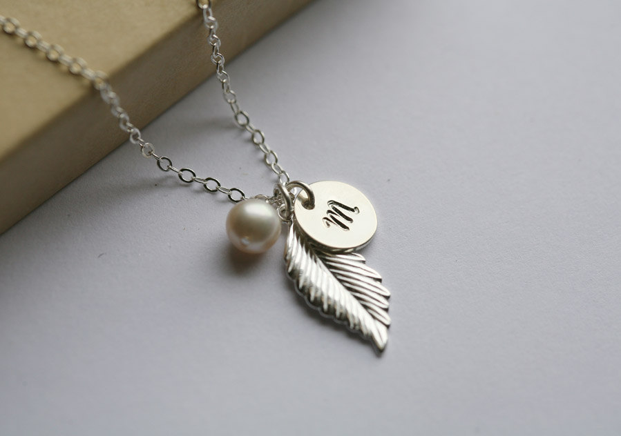 Monogram Necklace,Sterling silver Feather Necklace,Personalized initial,Bridal Wedding Jewelry,Fall Autumn Wedding,Bridesmaid