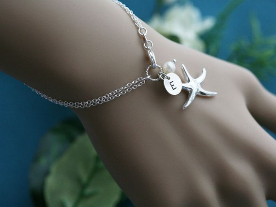 Starfish Bracelet Beach Wedding Bridesmaid Gifts Sisterhood Customize Birthstone