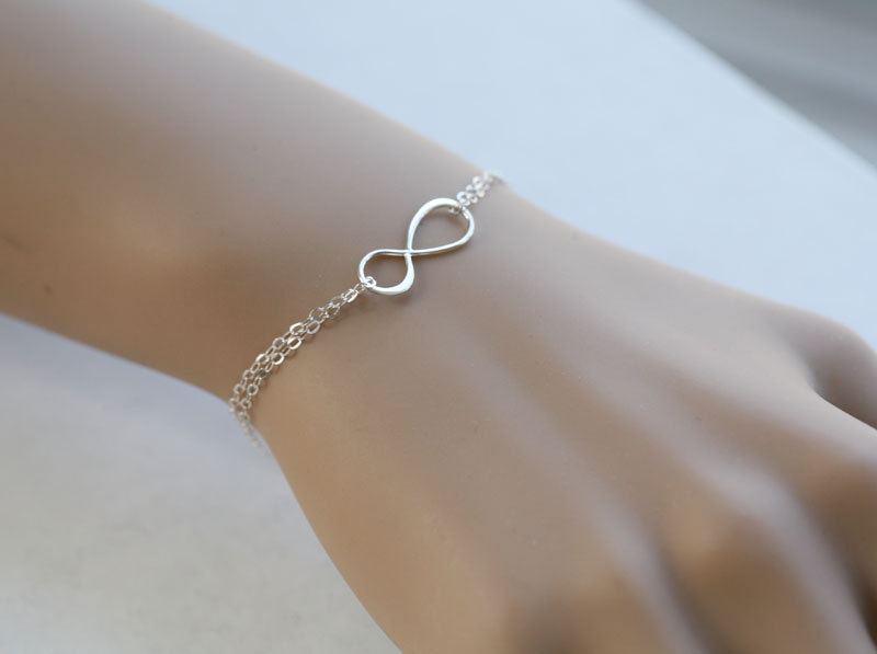 Infinity Bracelet,Best friends Bracelet,Bridesmaid Gifts,Friendship,Eternity infinity Sterling Silver Bracelet,Sisterhood,Graduation