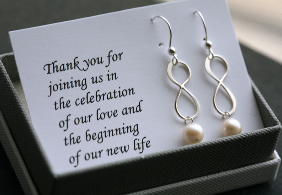 Sterling Silver infinity earrings,Personalized,Custom birthstone,Bridesmaid card with earrings,Thank you card,Wedding Bridal Jewelry