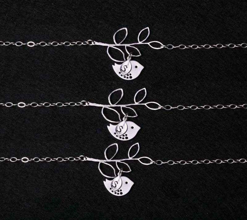 Set of 3,Bridesmaid Gifts,Wedding Jewelry,Bird Bracelet,Leaf initial,Leaf branch,Initial Bracelet,Bird on the branch,Flower Girl