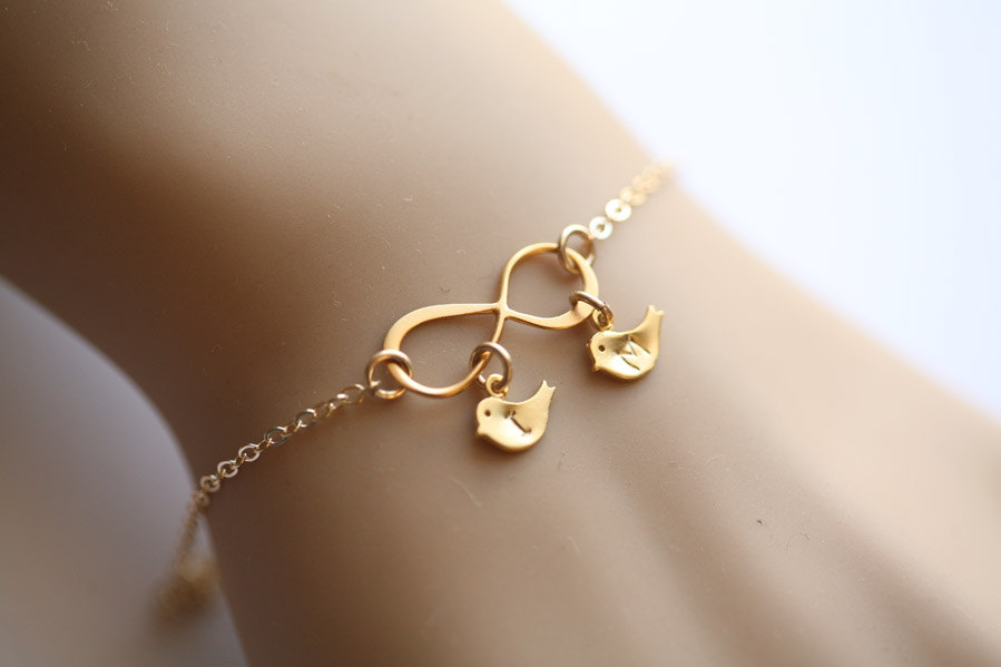 Gold Infinity Bird Bracelet Two Initials Letter Personalized Jewelry Monogram