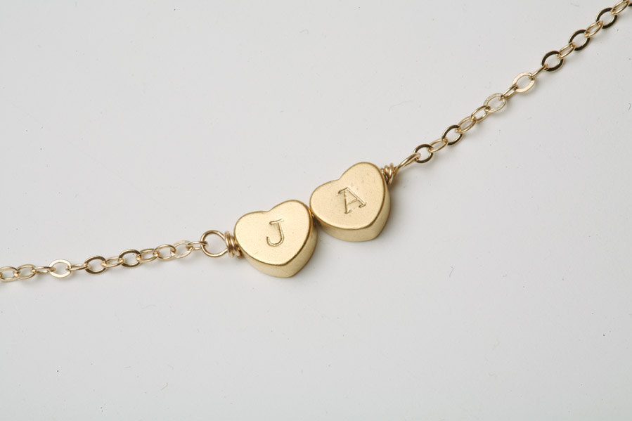Two Heart-Shaped Initial Engraved Necklace - Gold