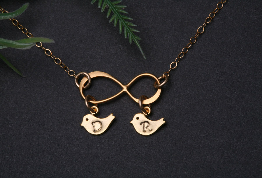 Gold Infinity necklace with bird initial charm,bird necklace,mother jewelry,couple,twins,friendship,best friend