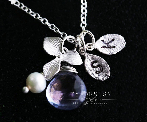 Two leaf initials sterling silver necklace,Orchid flower,Pearl,custom initial & birthstone,flower girl,bridesmaid gifts,wedding favor