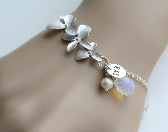 Up to 3 initials,CUSTOM initial and birthstone,Orchid Bracelet,initial bracelet,Bridesmaid Gifts,Flower Jewelry,Wedding Jewelry