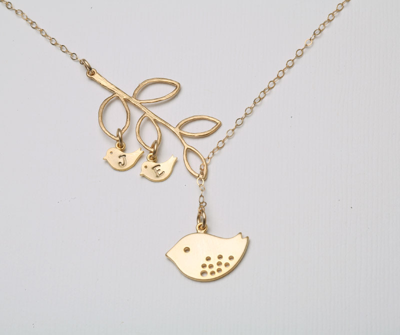 gold bird initial bird necklace mom and baby mother