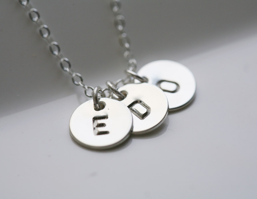 Three Initials Necklace,Sterling Silver,Couple,Birthday,Best Friend, Kid,Personalized,Mother's Jewelry