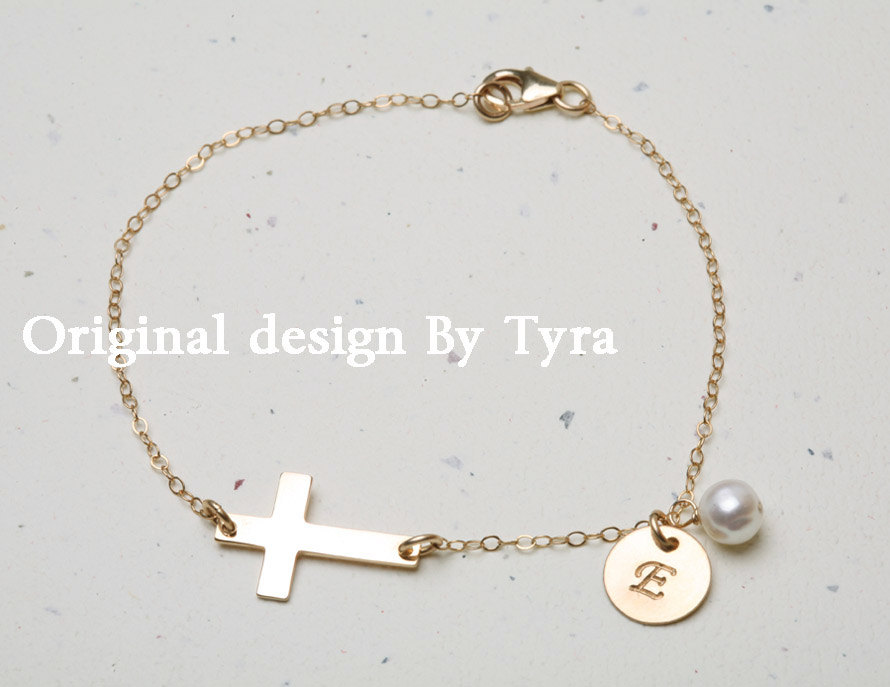 14k Gold Sideways cross bracelet,Initial bracelet,Personalized bracelet,Gold sideways cross,blessed,everyday jewelry,daily jewelry