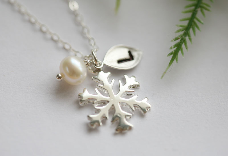SNOWFLAKE Necklaceleaf InitialWire Wrapped PearlWINTER WEDDING