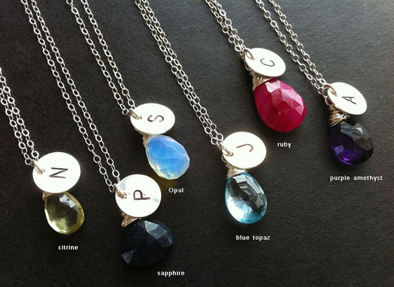 set of 8,Personalized birthstone and initial necklace,birthday gift, bridesmaid gift, wedding jewelry gift, Simple daily jewelry