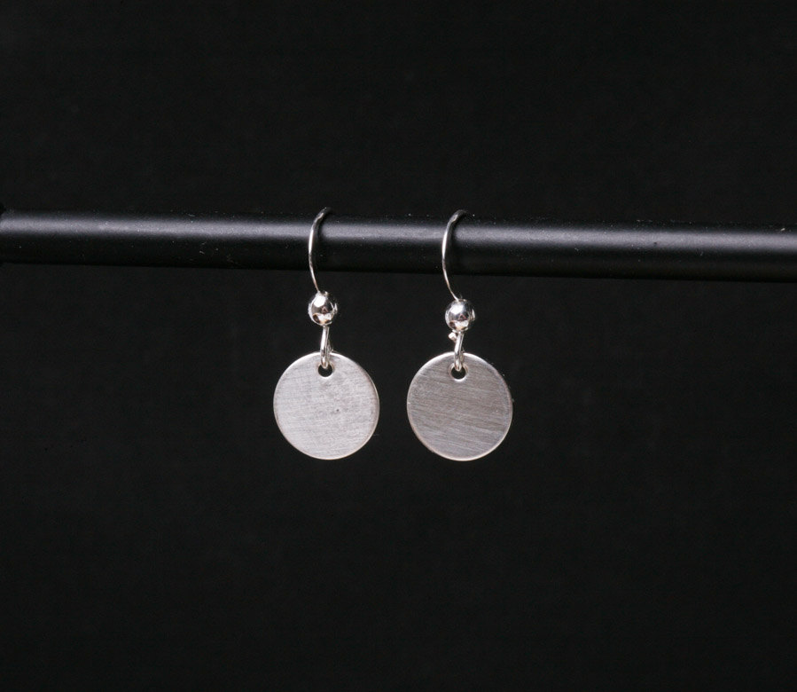 Sterling Silver Disc Earrings Drop Discs Tiny