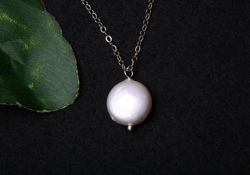 Fresh Water Coin Pearl Sterling Silver Necklace,Simply Daily Jewelry,Birthday,Bridesmaid Gifts,Mother Jewelry,Wedding Jewelry Gift