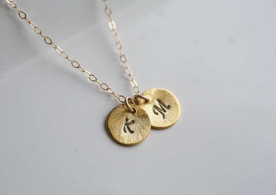 Textured disc,Personalized initial,Monogram necklace,Two initials,Tiny Initial Letter charm, Everyday daily Jewelry,Bridesmaids Jewelry