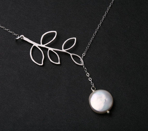 Leaf Necklace,Branch and coin Pearl on sterling silver necklace,Everyday Jewelry,Bridal jewelry gift,birthday