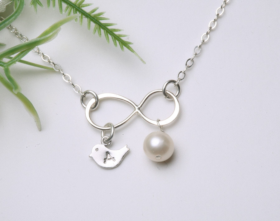 Silver Infinity necklace with bird initial charm,bird necklace,Custom stone,mother jewelry,couple,twins,friendship,best friend