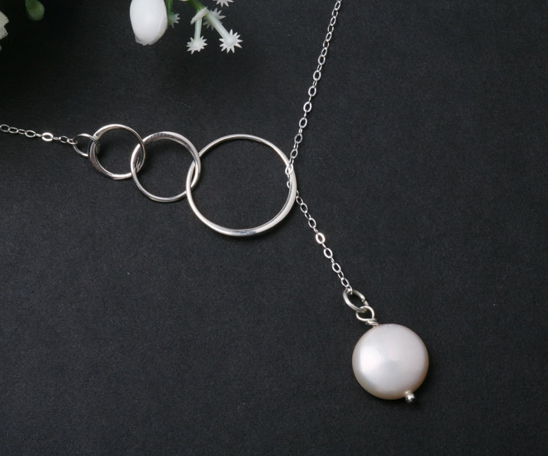 Sterling silver Trio Circle Eternity Rings Necklace with Freshwater coin pearl, Lariat,Bridesmaid gifts, anniversary,birthday