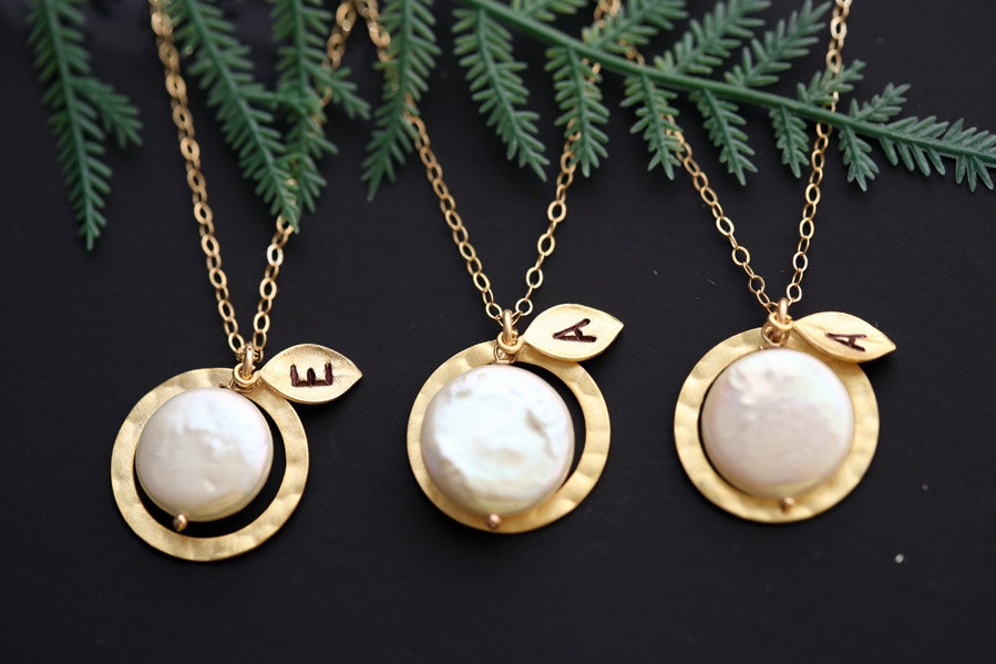Set of three,Gold Filled Circle,Coin Pearl, Leaf Initial Necklace, Wedding Jewelry, Bridal jewelry set,bridesmaid jewelry