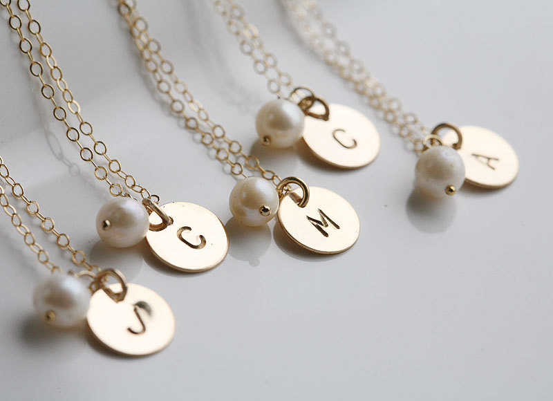 Set of 8,Custom Initial GOLD Filled Necklace, Tiny Initial Letter charm, Everyday daily Jewelry, Birthday, Bridesmaids Jewelry
