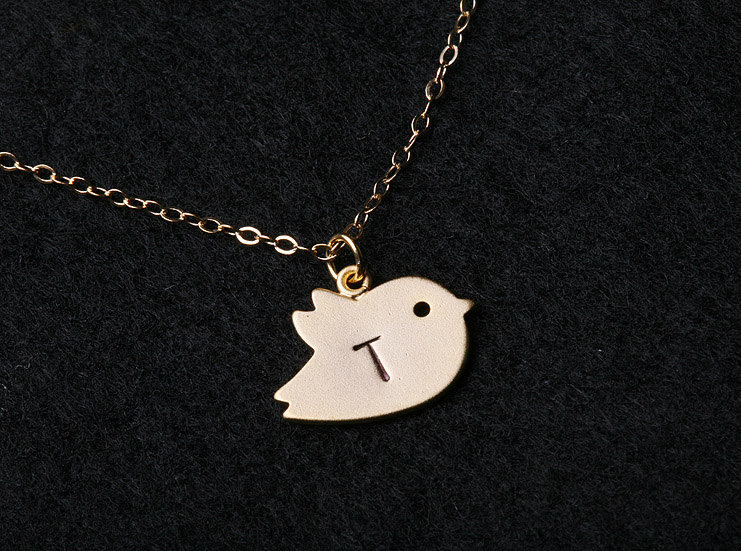Bird Initial necklace,Gold Filled,mother Jewelry,Family,Friendship Gift,Couple,Baby shower Gift,Everyday Jewelry