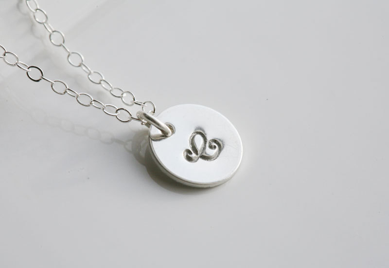 Custom Initial Sterling silver Necklace, Tiny Initial Letter charm, Everyday daily Jewelry, Birthday, Bridesmaids Jewelry