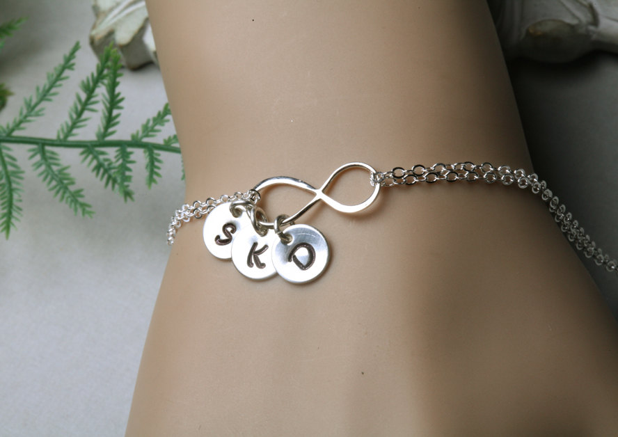 Infinity Initial Bracelet Ithree Charms Family Initials Sisters Best Friends Personalized