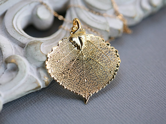 Baby Aspen LeafGold Or SilverLeaf Necklacebridesmaid GiftsAutumn Fall WeddingLariatPersonalizedwedding Jewelry