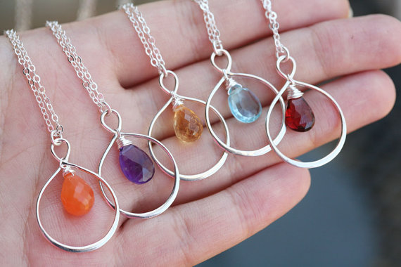 Custom Made Drop Birthstone Necklace , Bridesmaid Gift - Set of 7