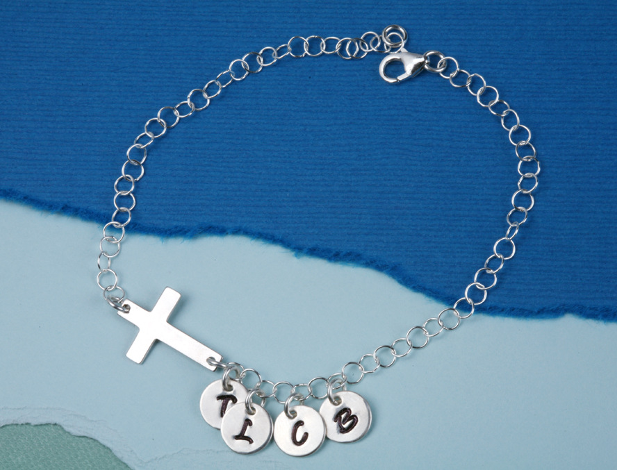 Sideway cross charm initial bracelet,Monogram bracelet,Family bracelet,Blessing,God mother bracelet,Personalized initial bracelet