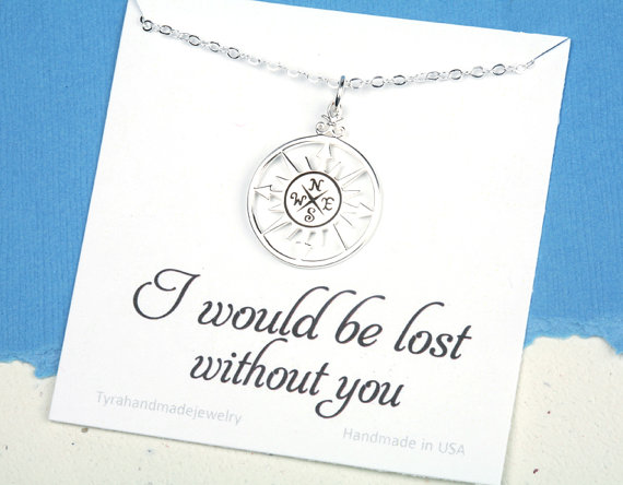 terling silver compass necklace with message card,compass necklace,Friendship necklace,Graduation gift,best friends,bridesmaid gift