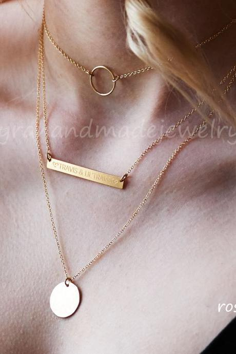 Personalized layered necklace,triple layer necklace,engraved name bar necklace,verse bar,date bar,coordinate bar,circle choker,hammered disc