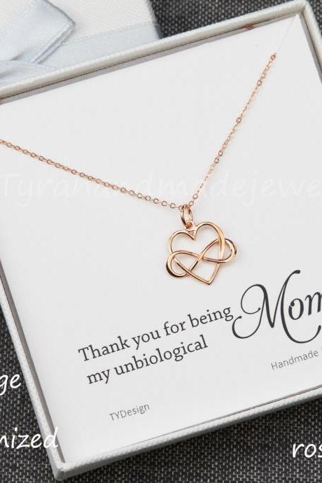 Infinity love necklace,infinity heart necklace,unbiological mother,unbiological sister,sister in law,mother daughter,custom jewelry card