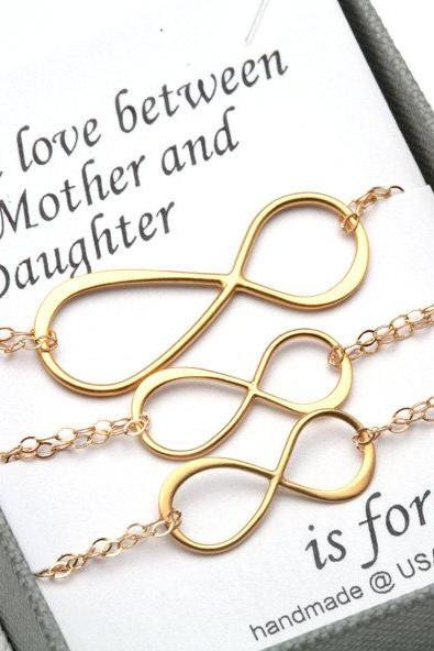 Mother Daughter Jewelry Set,Infinity Bracelet Set,Infinity figure eight Charm,Mothers Day gift,Gift for mother,personalized note