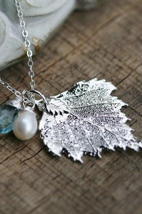Birch Leaf Necklace,real leaf necklace,custom birthstone,Mother jewelry,Grandmother gift,Bridesmaid gift,Wedding Jewelry,Family birthstone