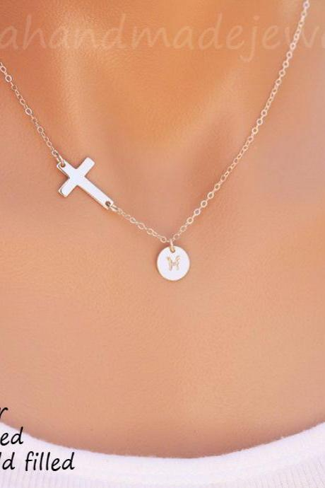 Sideways cross initial necklace,personalized cross necklace,hand stamped,custom font monogram,faith jewelry,baptism gift,custom note card