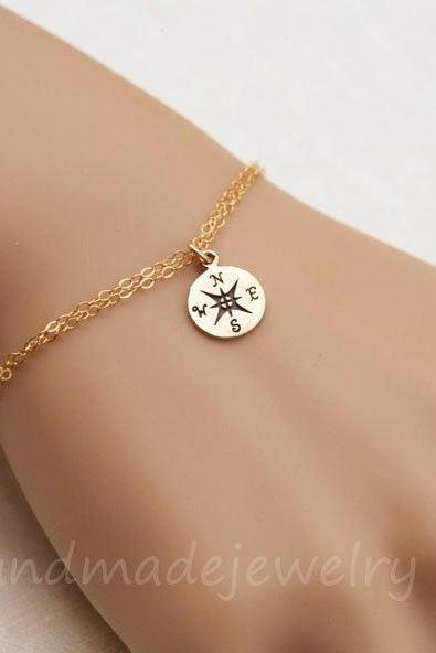 Compass Bracelet,Graduation Gift,sisterhood gift,bridesmaid gift,best friend gift,Friendship gift,silver,gold,custom jewelry note