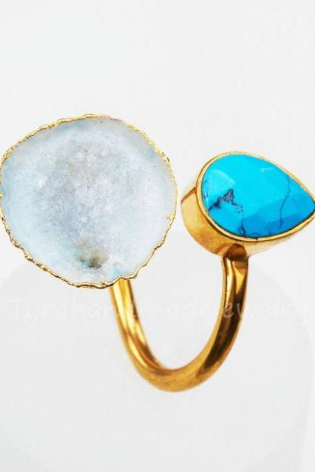 two stone ring,turquoise ring,quartz geode ring,teardrop faceted turquoise,open geode,gold bezel,anniversary gift,birthday gift,