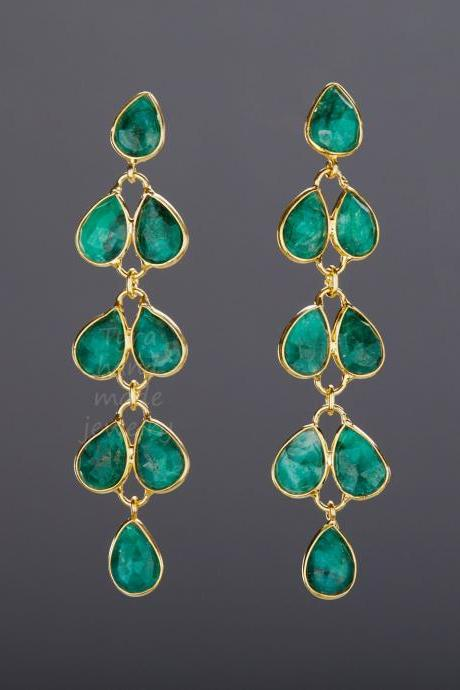Five tier emerald earring,Long dangle emerald earring,leaflet bezel emerald string,real gemstone,May birthday,mother gift,anniversary gift