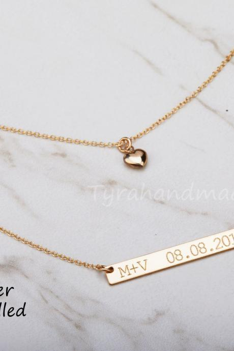 Double layer Engraved bar Necklace Set,heart necklace,Monogram initial necklace,wedding date,coordinate locations,full name,custom message