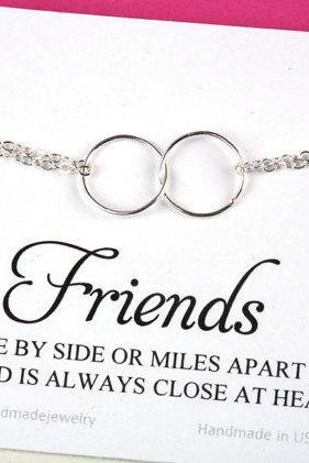 Best Friends Bracelet with note card,Karma charm bracelet,Circle charm Bracelet,Eternity love circle,Sisterhood,,Bridesmaid gifts