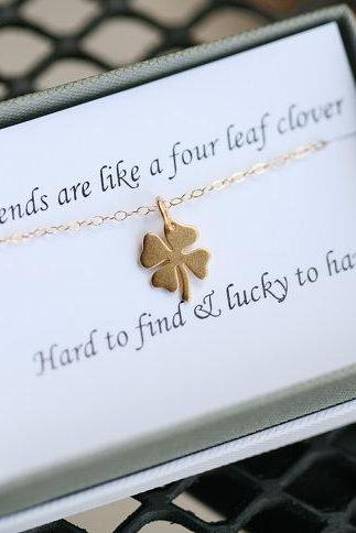 Gold Four leaf clover necklace,shamrock necklace, Gold shamrock,Best friend gift,St Patricks Day gift,sisterhood,birthday gift