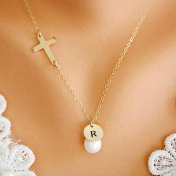 14k Gold Filled Cross necklace,Blessed necklace,Small GOLD FILLED Cross,Custom initial and birthstone,Original design,birthday