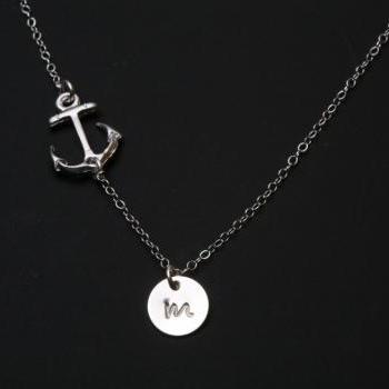 ON SALE -Anchor Necklace,sideways Anchor,Personalized initial anchor,Sailors Anchor,Wedding Jewelry,Bridesmaid gifts,daily Jewelry,strength