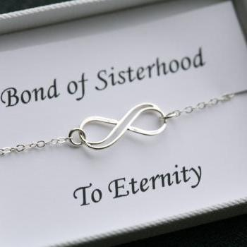 Sisterhood infinity love bracelet,sisters for infintiy,Mother of groom,Custom birthstone,Thank you card,greeting