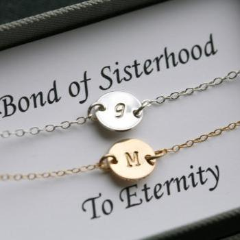 Sisterhood necklace,Thank you card with necklace,Silver & Gold,bridesmaids jewelry,initial necklace for bridesmaidsaid,Message card