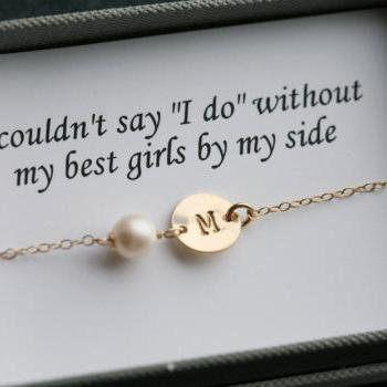 Bridesmaid gifts,Bridesmaid card,Thank you card with necklace,14k gold,Initial necklace for bridesmaid,Message card,be my bridesmaid