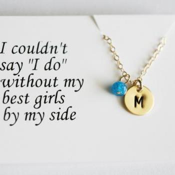 Thank you card,Bridesmaid thank you card,Be my bridesmaid,Monogram Initial 14k GOLD Filled Necklace,custom stone